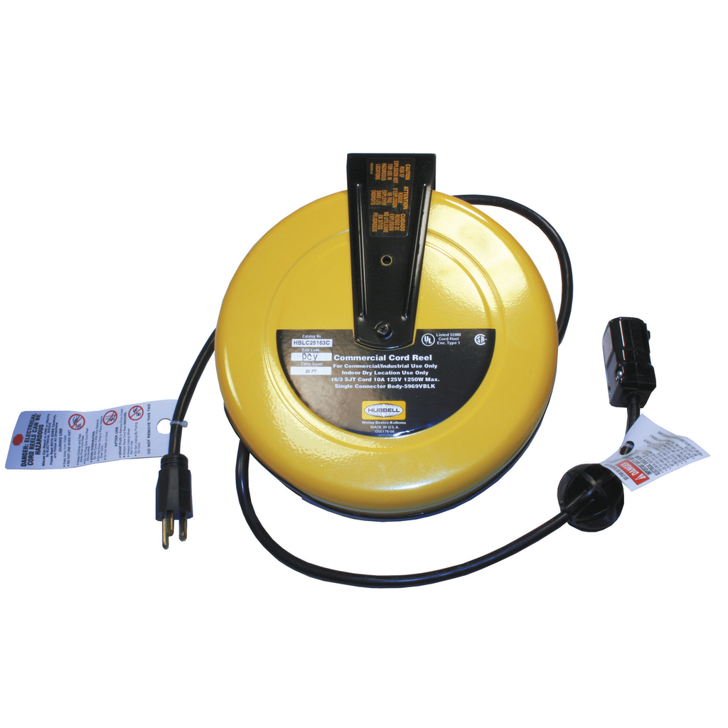 Hubbell Wiring Devices HBLC25163C 10 Amp 125 Volt 25 Foot Yellow Commercial Cord Reel