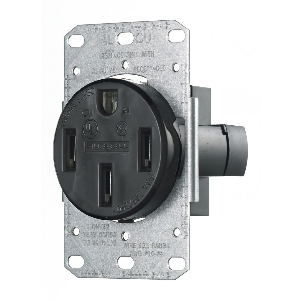 Hubbell Wiring Devices RR450F 50 Amp 125/250 Volt 3-Pole 4-Wire NEMA 14-50R Black Range and Dryer Power Receptacle