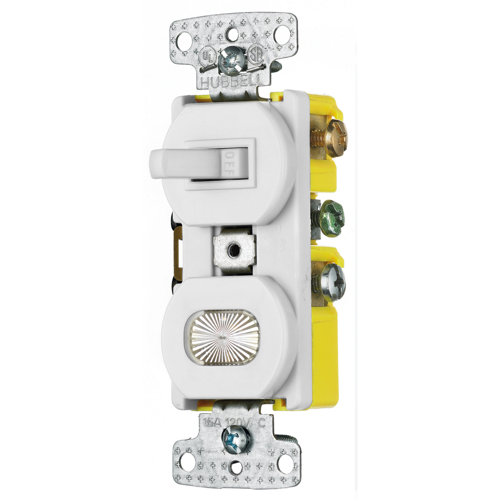 Hubbell Wiring Devices RC109W 15 Amp 120 VAC 1-Pole White Combination Switch with Pilot Light