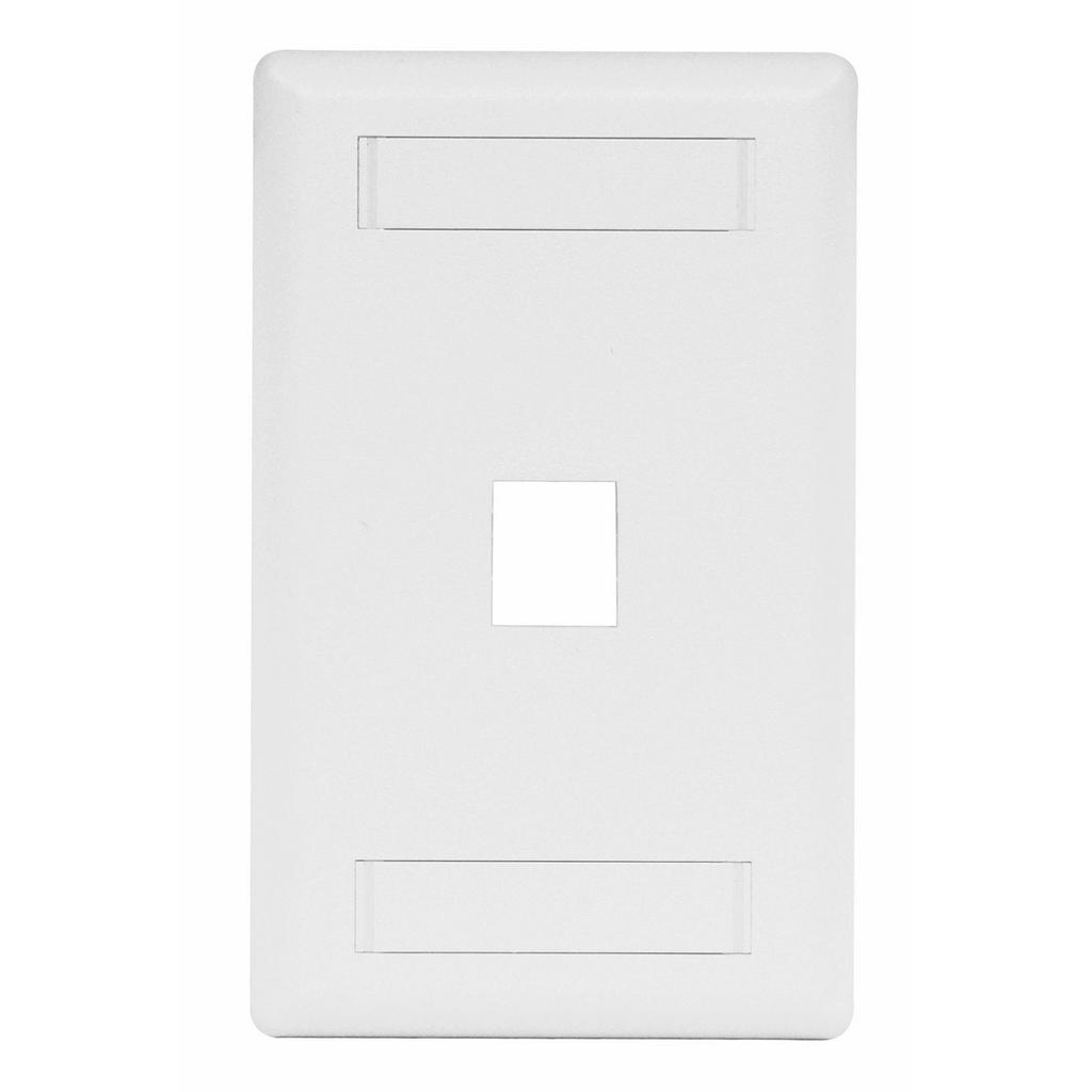 Mayer-Phone/Data/Multimedia Faceplate, Face Plate, Rear-Loading, 1-Port, Single-Gang, White-1