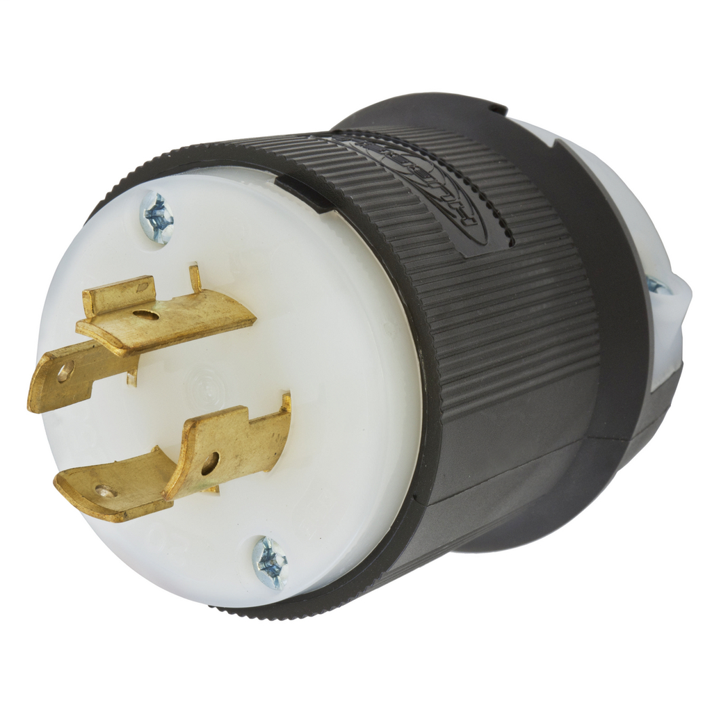Hubbell Wiring Devices HBL2421 20 Amp 250 Volt 3-Pole 4-Wire NEMA L15-20P Black and White Locking Plug