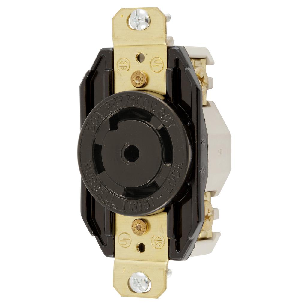 Hubbell Wiring Devices HBL2830 30 Amp 347/600 VAC 4-Pole 5-Wire NEMA L23-30R Black Single Flush Locking Receptacle