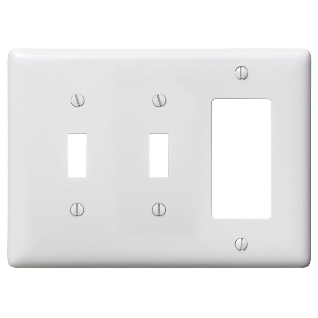 Hubbell Wiring Devices NPJ226W 3-Gang White Nylon Medium 2-Toggle 1-Decorator Switch Combination Wallplate