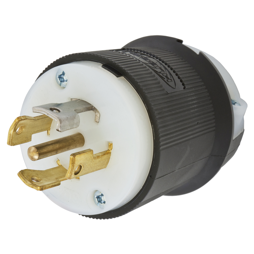 Hubbell Wiring Devices HBL2831 30 Amp 347/600 VAC 4-Pole 5-Wire NEMA L23-30P Black and White Locking Plug