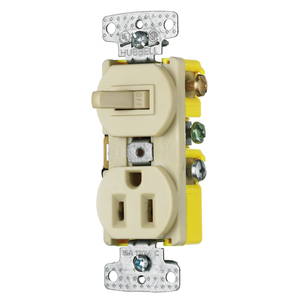Hubbell Wiring Devices RC108I 15 Amp 120/125 Volt 1-Pole Switch 2-Pole 3-Wire Receptacle Ivory Combination Switch