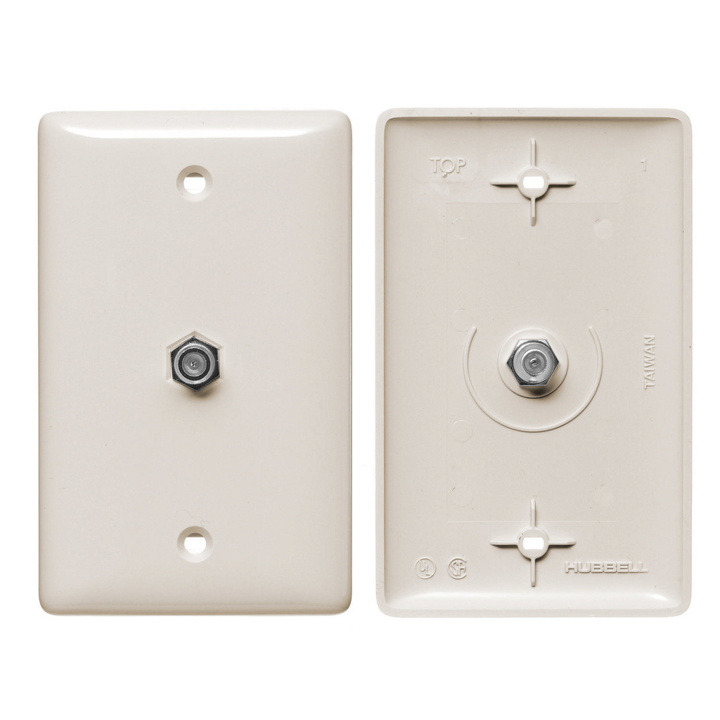 Mayer-Plates, 1-Gang, With F Connector, Light Almond-1