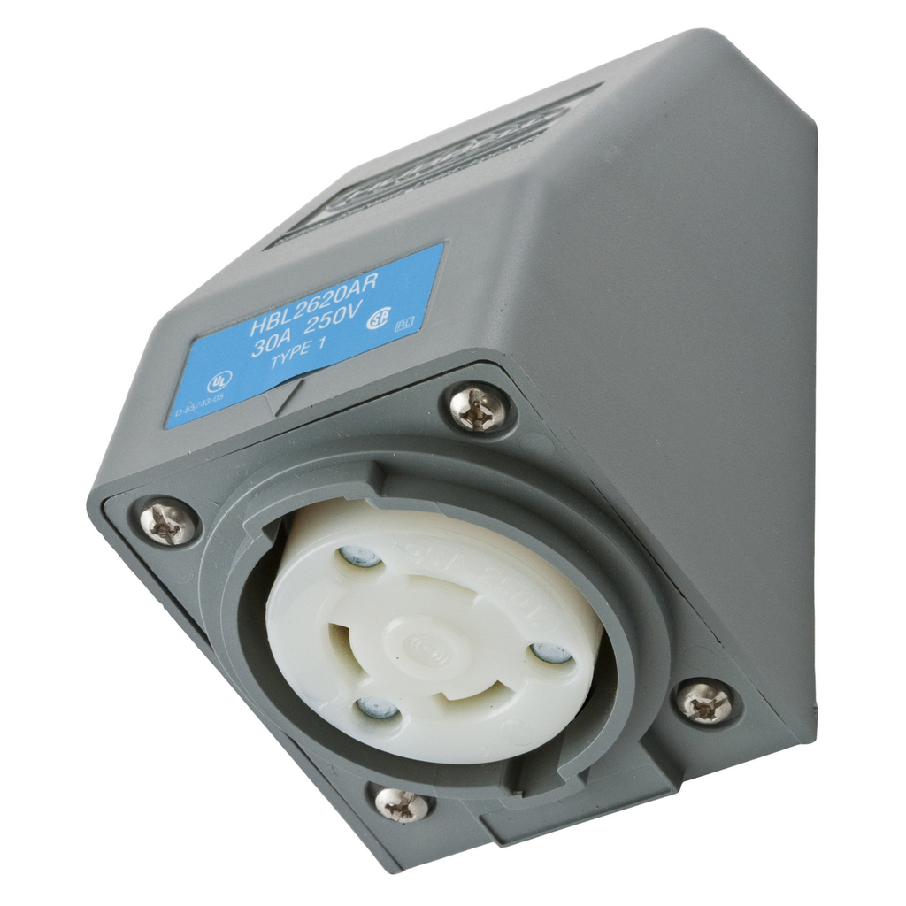 Hubbell Wiring Devices HBL2620AR 30 Amp 250 Volt 2-Pole 3-Wire NEMA L6-30R Gray Locking Receptacle