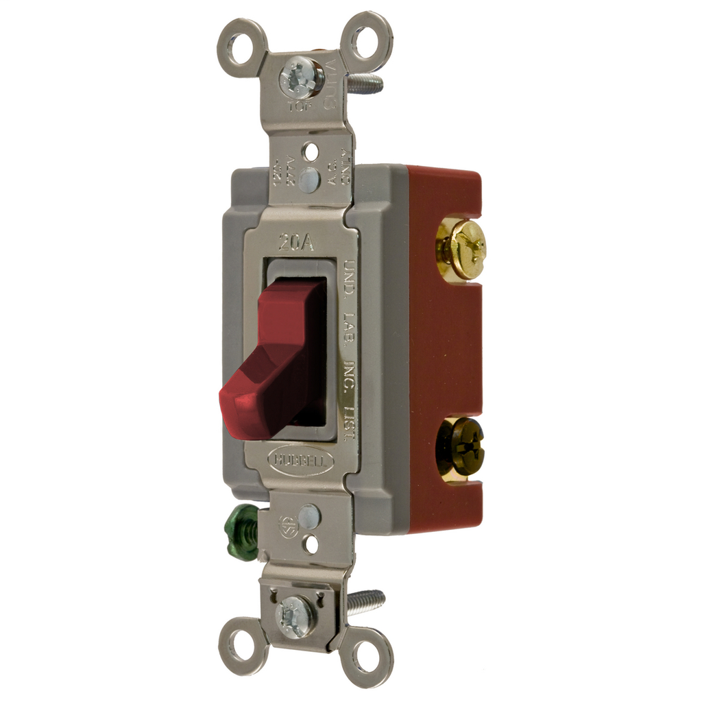 Hubbell Wiring Devices HBL1223R 20 Amp 120/277 VAC 3-Way Red Toggle Switch