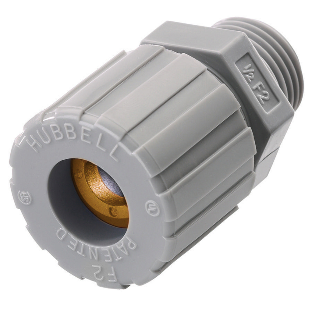 Hubbell Wiring Devices SHC1020CR 1/2 Inch Male Threaded 0.13 to 0.19 Inch Gray Nylon Straight Cord Connector