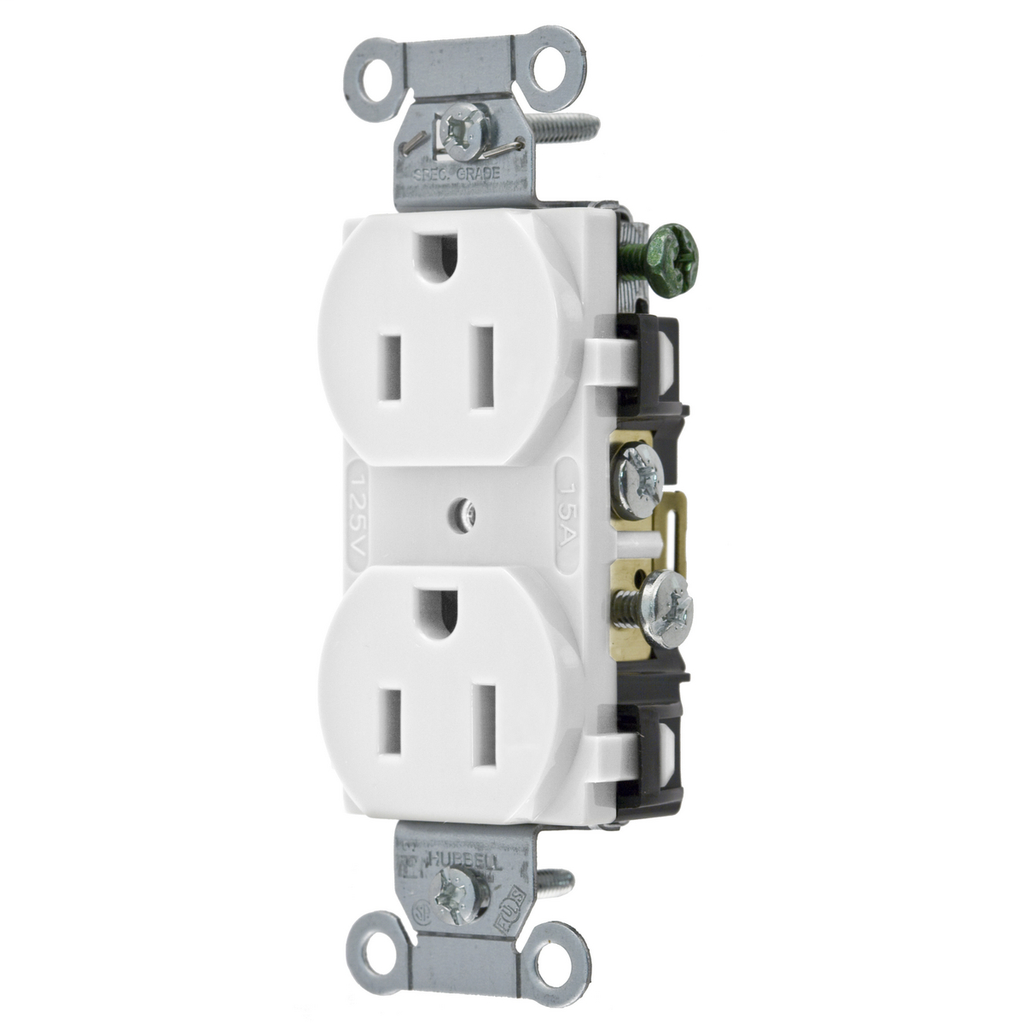 Hubbell Wiring Devices CR15WHI 15 Amp 125 Volt 2-Pole 3-Wire NEMA 5-15R White Straight Blade Duplex Receptacle