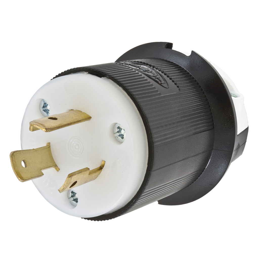 Hubbell Wiring Devices HBL2321 20 Amp 250 Volt 2-Pole 3-Wire NEMA L6-20P Black and White Locking Plug