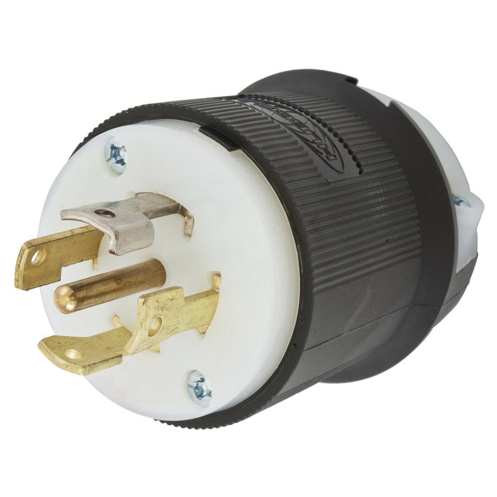 Hubbell Wiring Devices HBL2821 30 Amp 277/480 VAC 4-Pole 5-Wire NEMA L22-30P Black and White Locking Plug