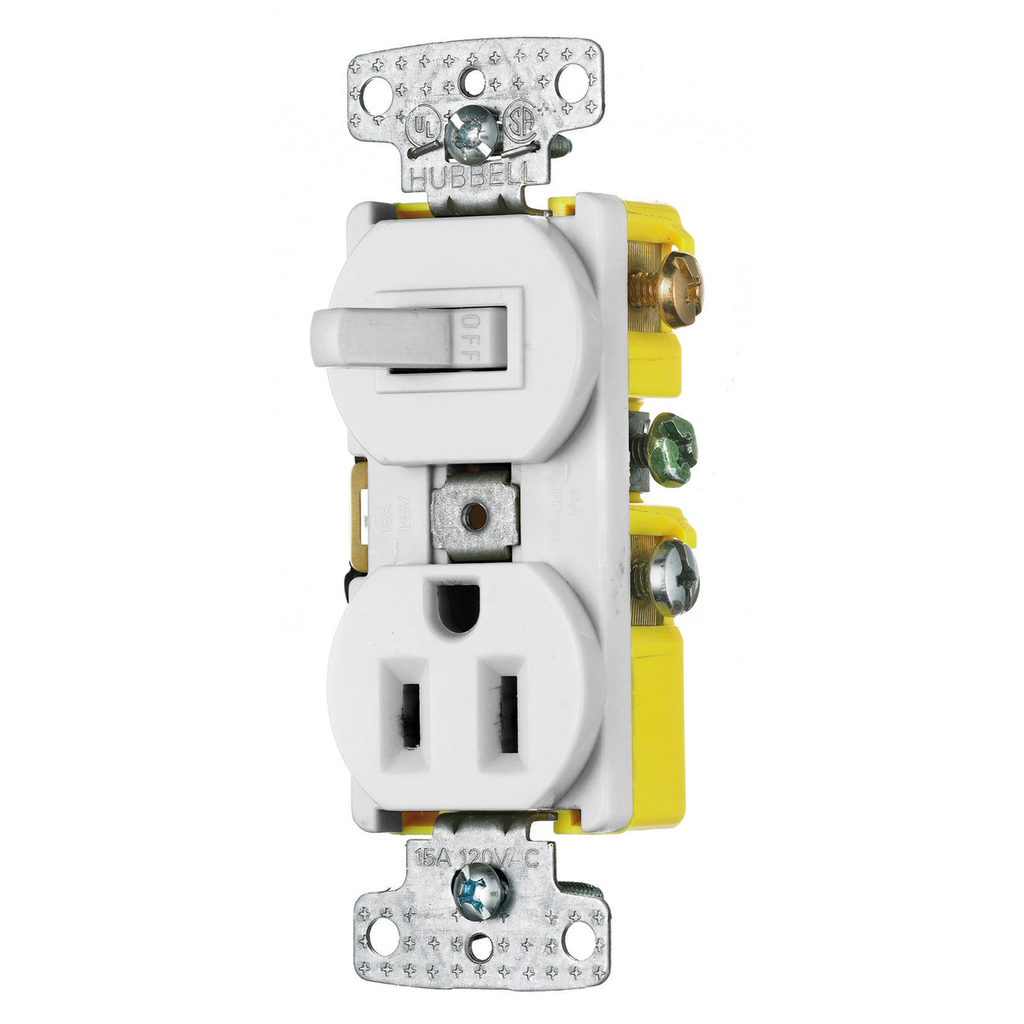 Hubbell Wiring Devices RC108W 15 Amp 120/125 Volt 1-Pole Switch 2-Pole 3-Wire Receptacle White Combination Switch
