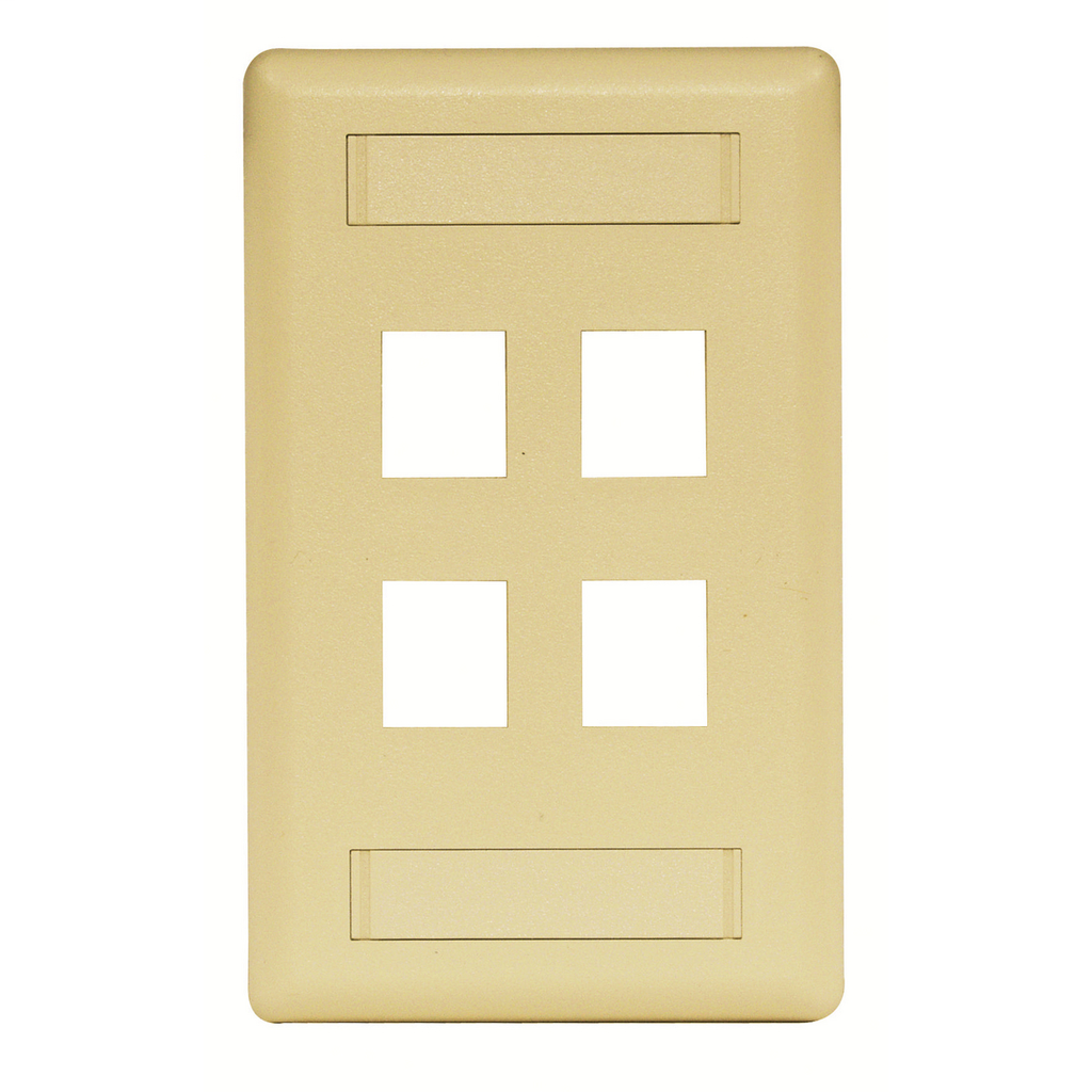 Mayer-Phone/Data/Multimedia Face Plate, Face Plate, Rear-Loading, 4-Port, Single-Gang, Electric Ivory-1