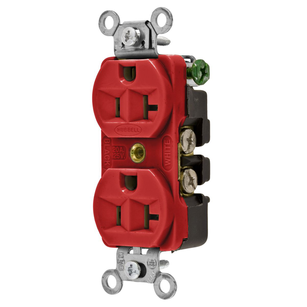 Hubbell Wiring Devices 5362R 20 Amp 125 Volt 2-Pole 3-Wire NEMA 5-20R Red Straight Blade Duplex Receptacle