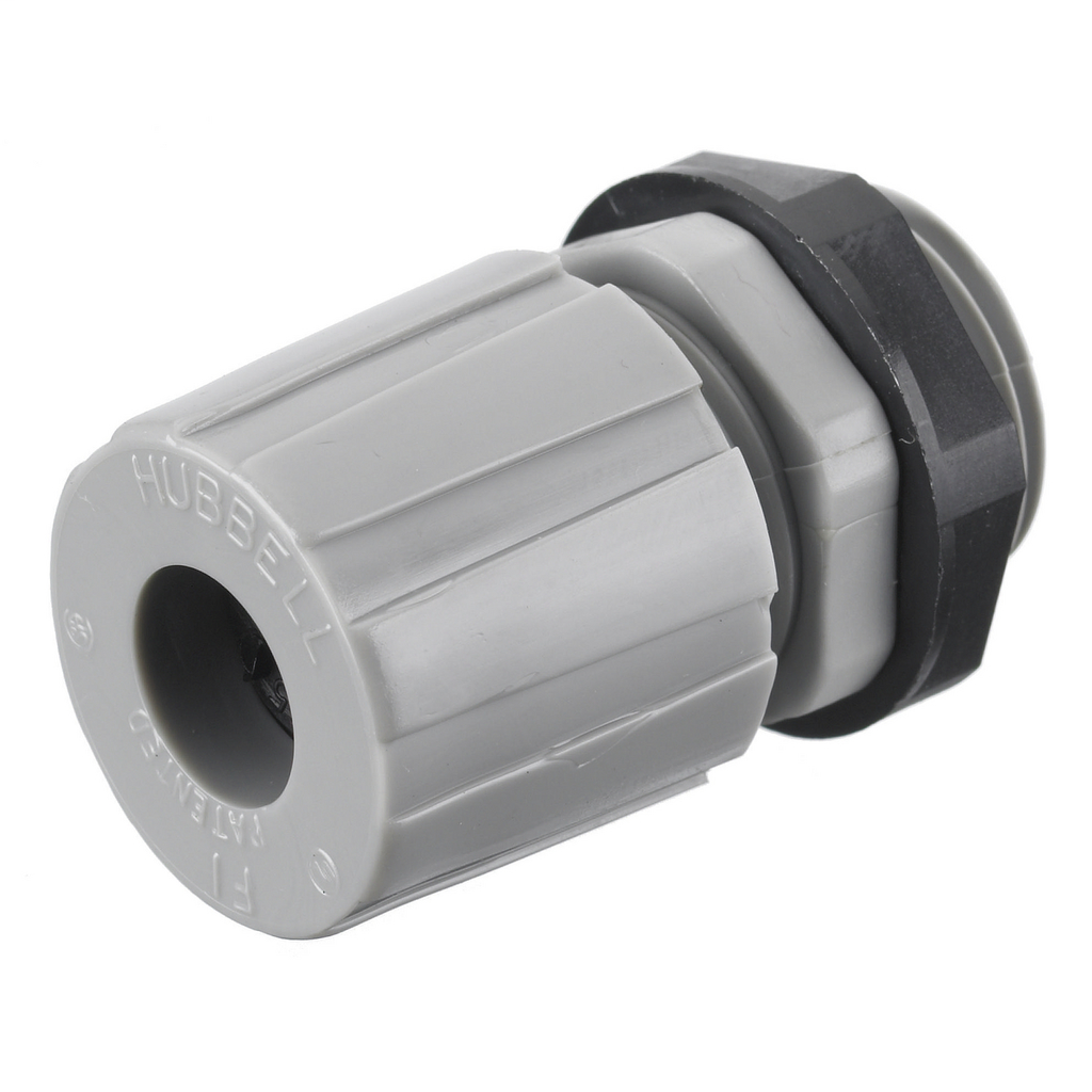 Hubbell Wiring Devices HJ1006GPK25 3/8 Inch Threaded 0.28 to 0.34 Inch Gray Nylon Miniature Cord Connector