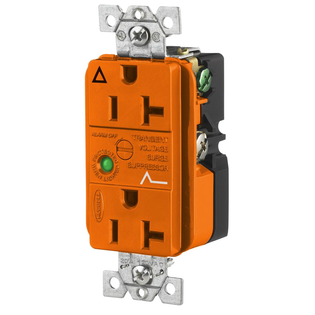 Hubbell Wiring Devices IG5362OSA 20 Amp 125 Volt 2-Pole 3-Wire NEMA 5-20R Orange Straight Blade Duplex Receptacle