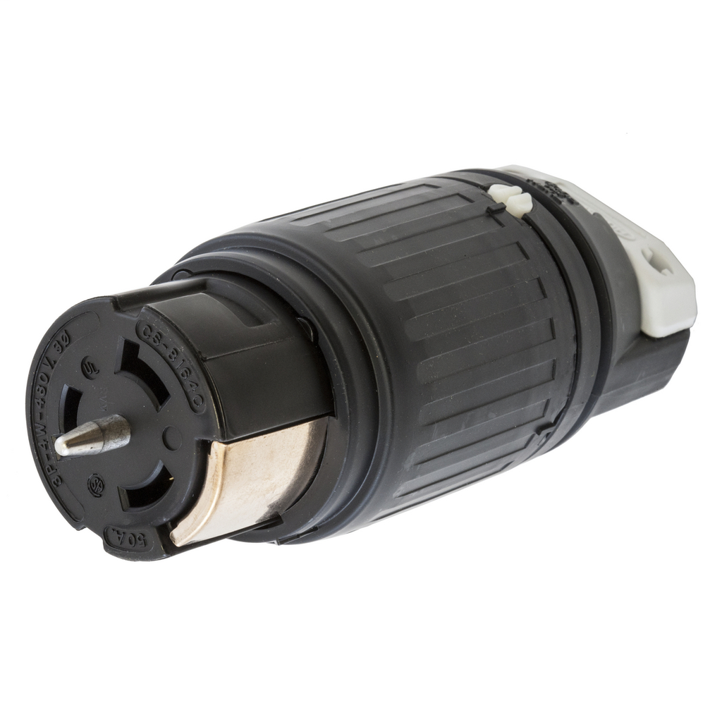 Hubbell Wiring Devices CS8164C 50 Amp 480 Volt 3-Pole 4-Wire Black and White Locking Connector Body