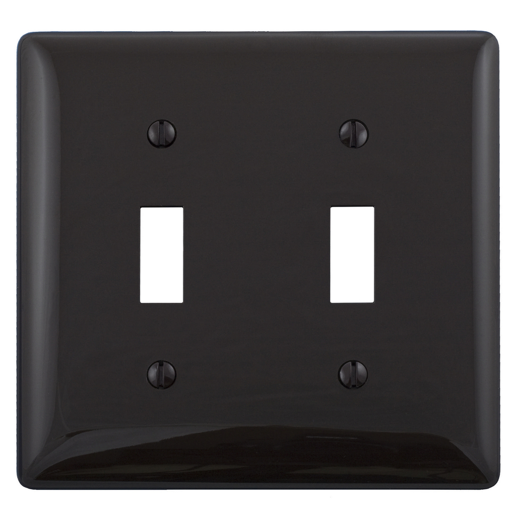Hubbell Wiring Devices NP2BK 2-Gang Black Nylon Standard 2-Toggle Switch Wallplate