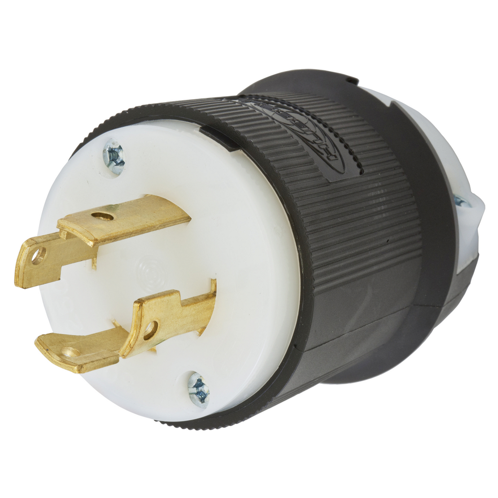 Hubbell Wiring Devices HBL2721 30 Amp 250 Volt 3-Pole 4-Wire NEMA L15-30P Black and White Locking Plug