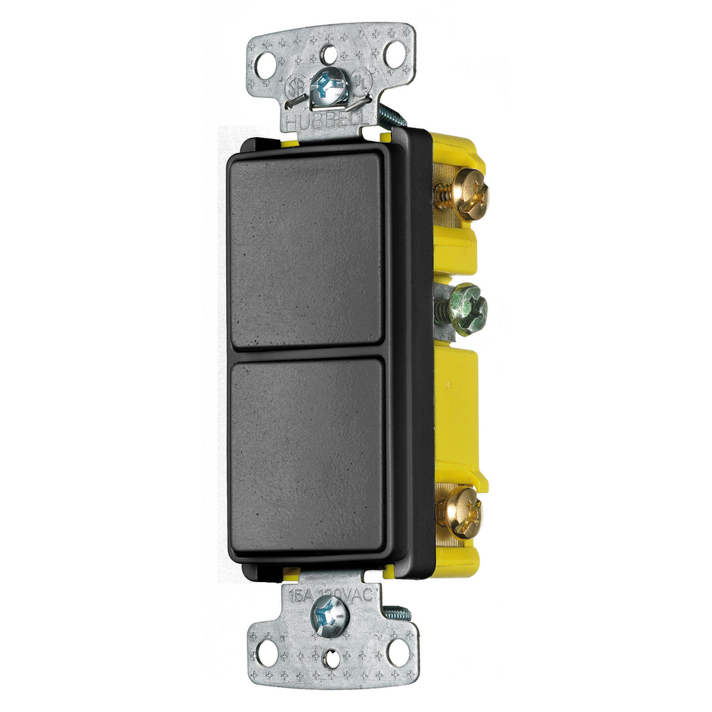 Hubbell Wiring Devices RCD101BK 15 Amp 120 to 277 VAC 1-Pole Black Quiet Rocker Switch