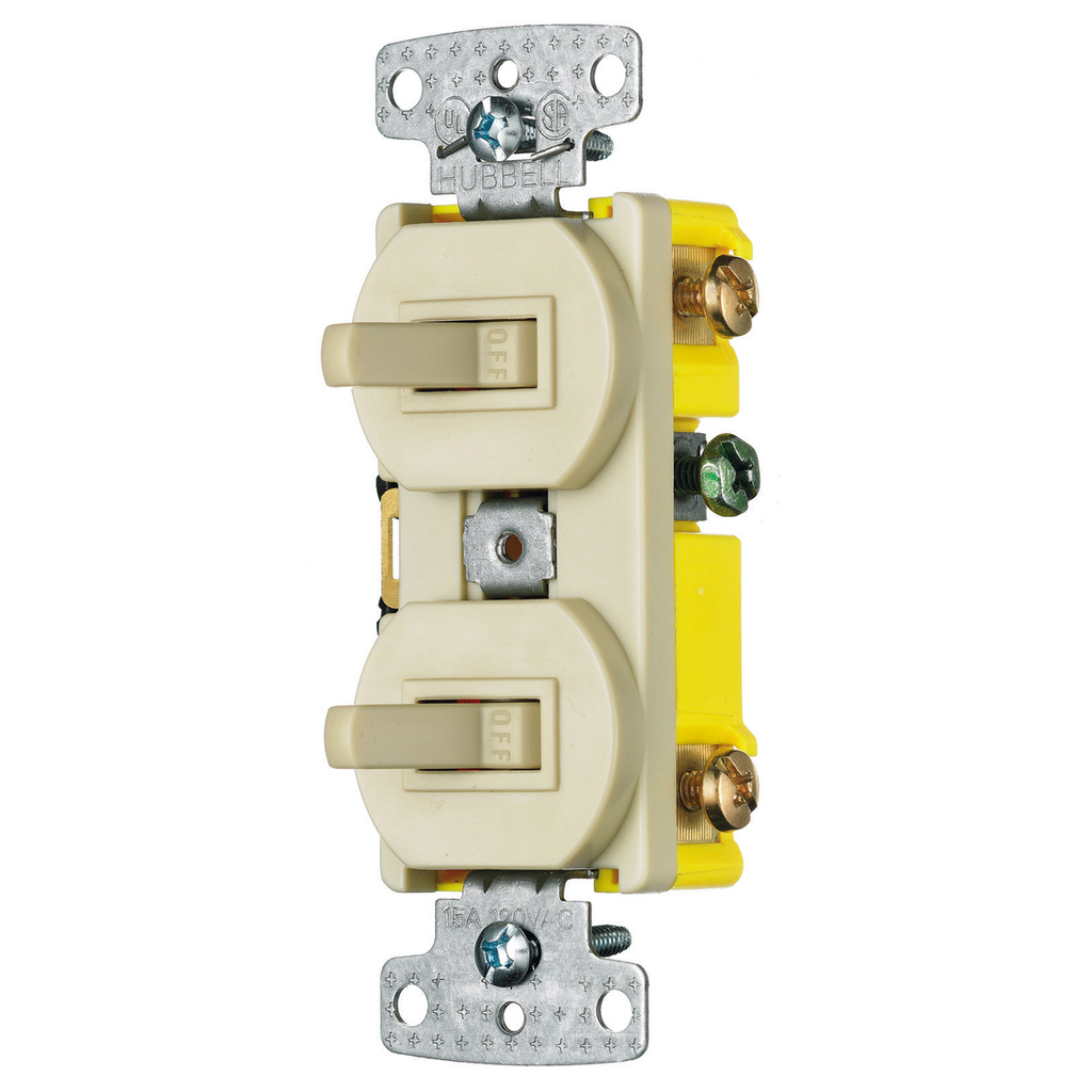 Hubbell Wiring Devices RC103I 15 Amp 120 VAC 1-Pole 3-Way Ivory Combination Switch