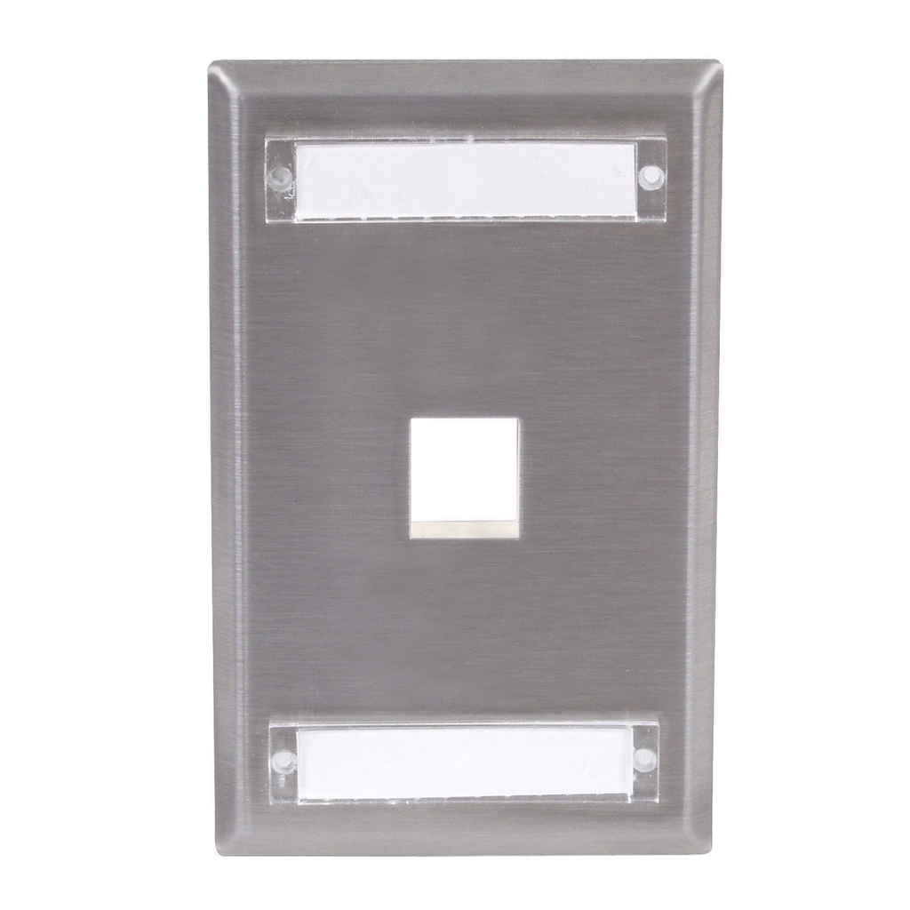 Mayer-Phone/Data/Multimedia Faceplate, Stainless Steel Plate with Label Fields, Single-Gang, 1-Port-1