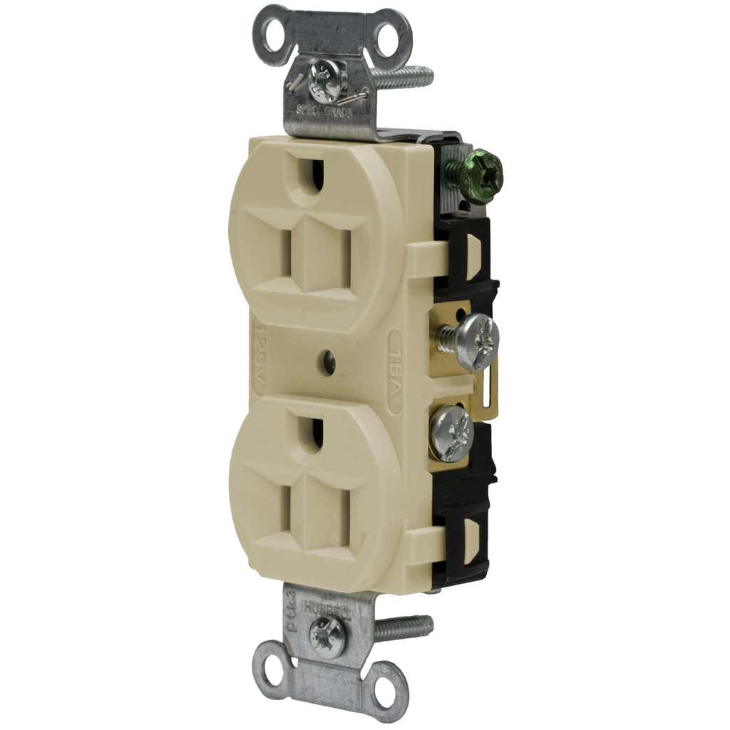 Hubbell Wiring Devices CRF15I 15 Amp 125 Volt 2-Pole 3-Wire NEMA 5-15R Ivory Straight Blade Duplex Receptacle