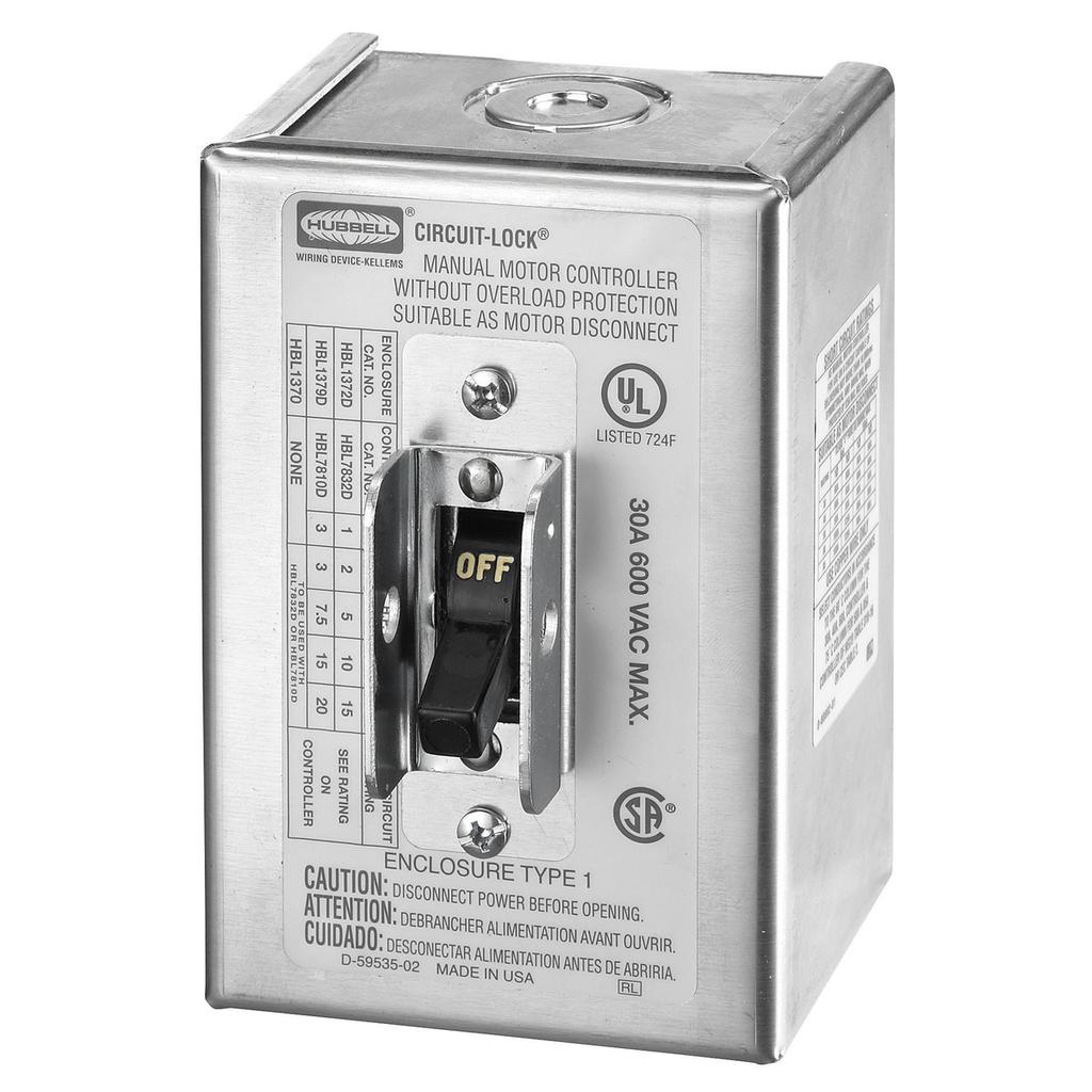 Hubbell Wiring Devices HBL1372D 30 Amp 600 VAC 2-Pole NEMA 1 Aluminum Disconnect Switch Enclosure