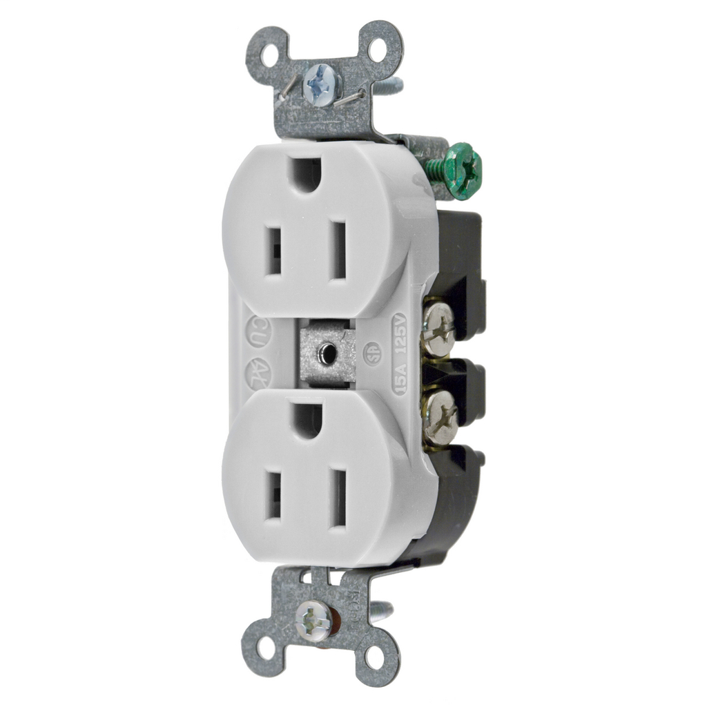 Hubbell Wiring Devices 5252AOW 15 Amp 125 Volt 2-Pole 3-Wire NEMA 5-15R White Straight Blade Duplex Receptacle