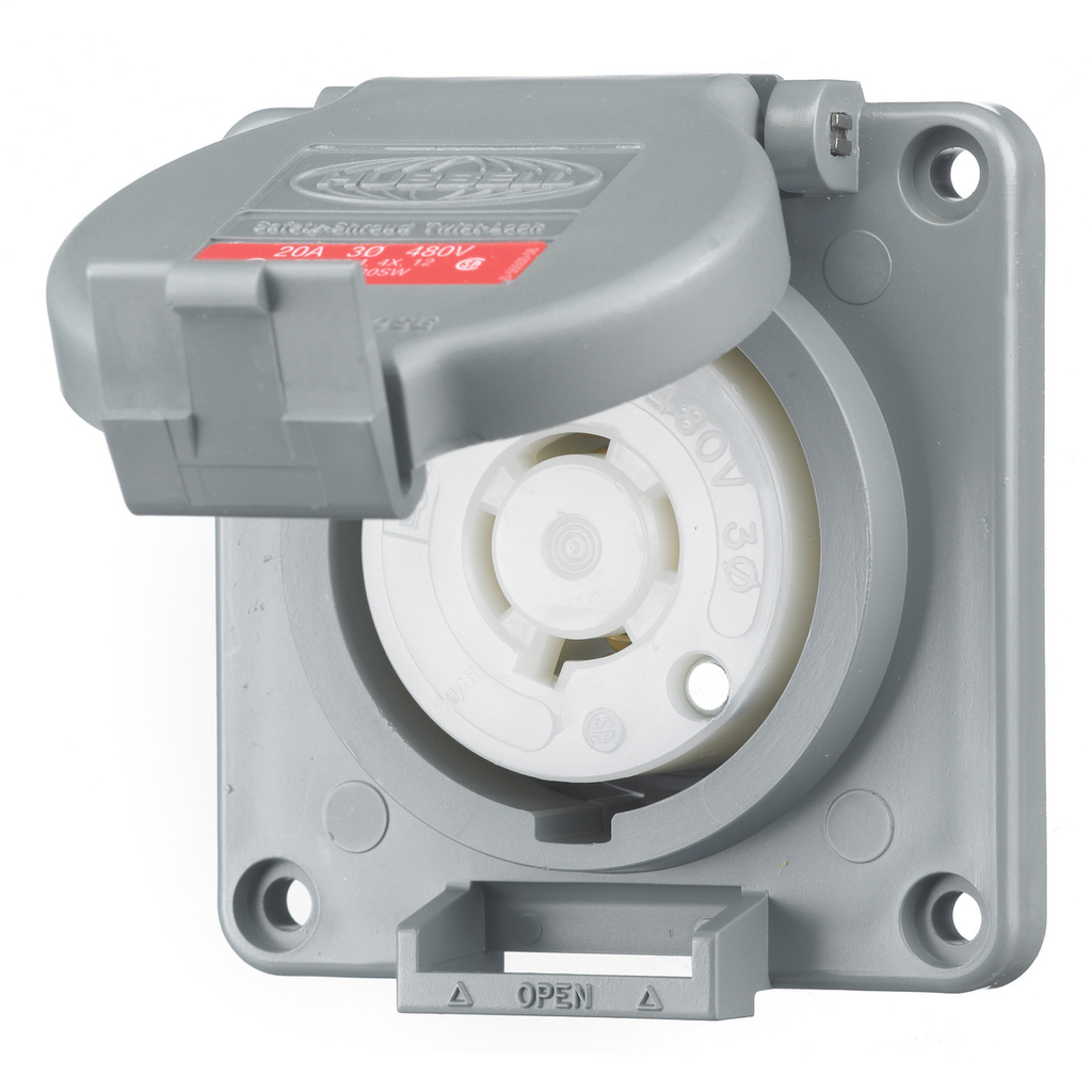 Hubbell Wiring Devices HBL2430SW 20 Amp 480 Volt 3-Pole 4-Wire NEMA L16-20R Gray Watertight Locking Receptacle