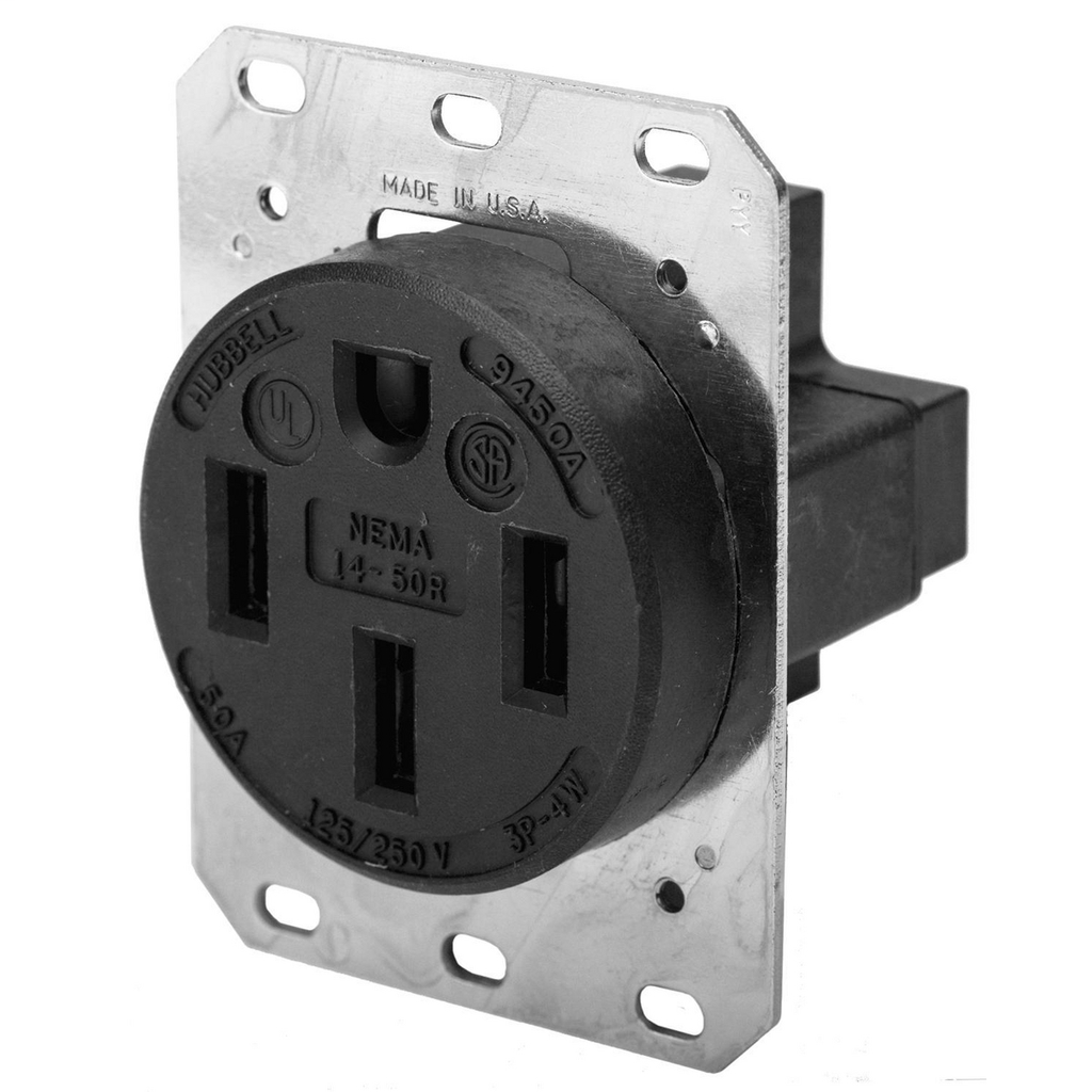 Hubbell Wiring Devices HBL9450A 50 Amp 125/250 Volt 3-Pole 4-Wire NEMA 14-50R Black Straight Blade Receptacle