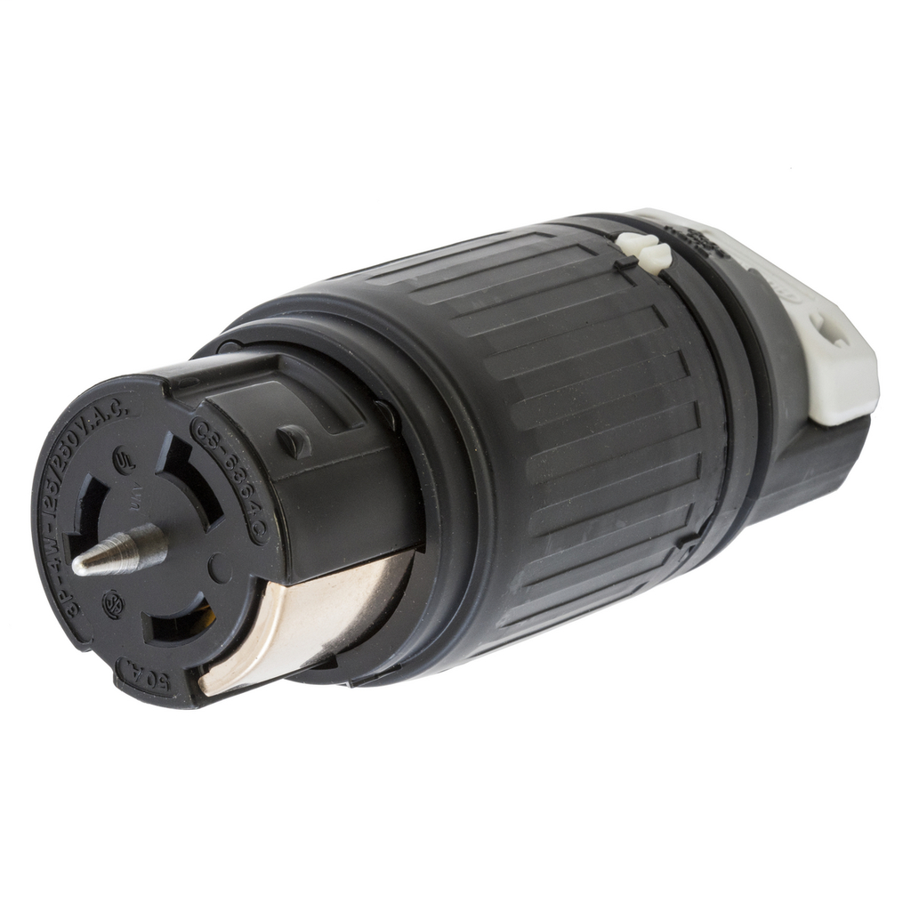 Hubbell Wiring Devices CS6364C 50 Amp 125/250 Volt 3-Pole 4-Wire Black and White Locking Connector Body