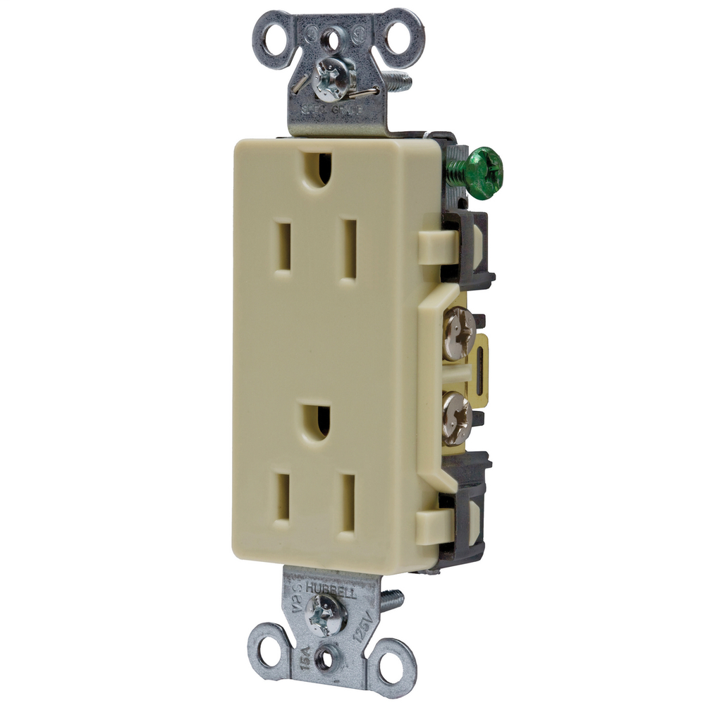 Hubbell Wiring Devices DR15I 15 Amp 125 Volt 2-Pole 3-Wire NEMA 5-15R Ivory Decorator Straight Blade Receptacle
