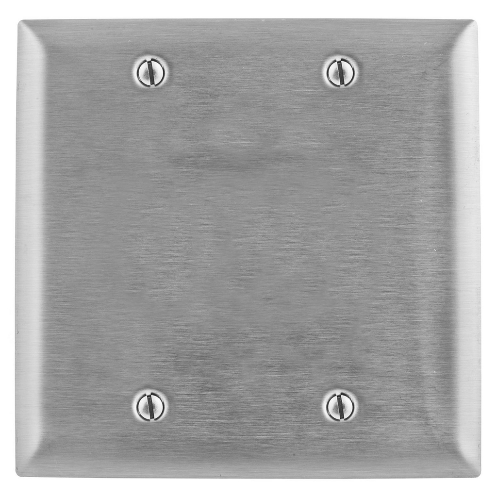 Hubbell Wiring Devices SS23 2-Gang Blank Stainless Steel Wallplate