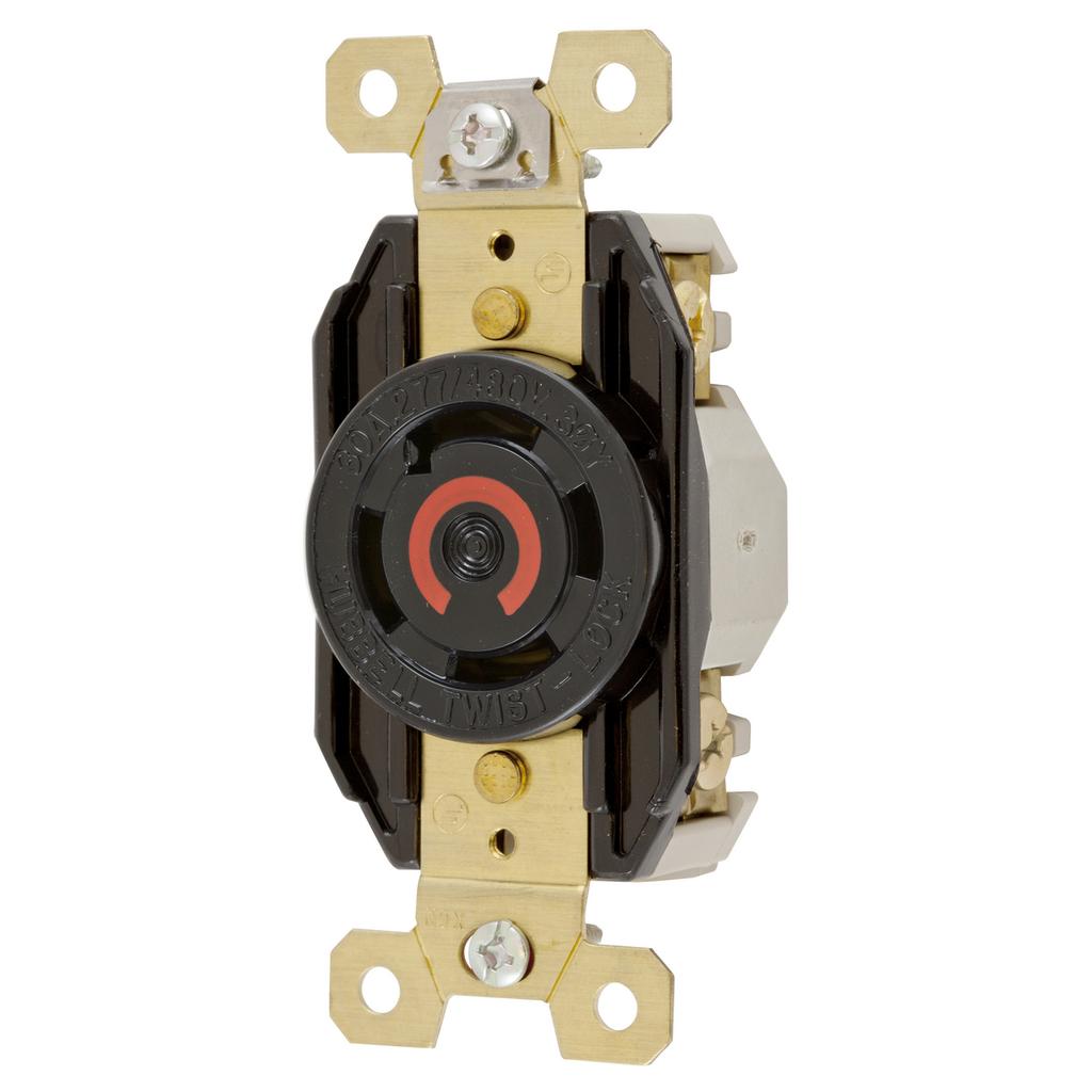 Hubbell Wiring Devices HBL2760 30 Amp 277/480 VAC 4-Pole 4-Wire NEMA L19-30R Black Single Flush Locking Receptacle