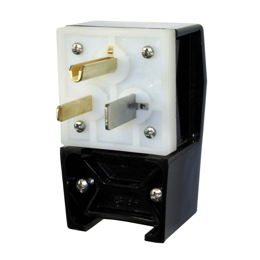 Hubbell Wiring Devices HBL9368 50 Amp 250 Volt 2-Pole 3-Wire NEMA 6-50P Black Straight Blade Angle Plug