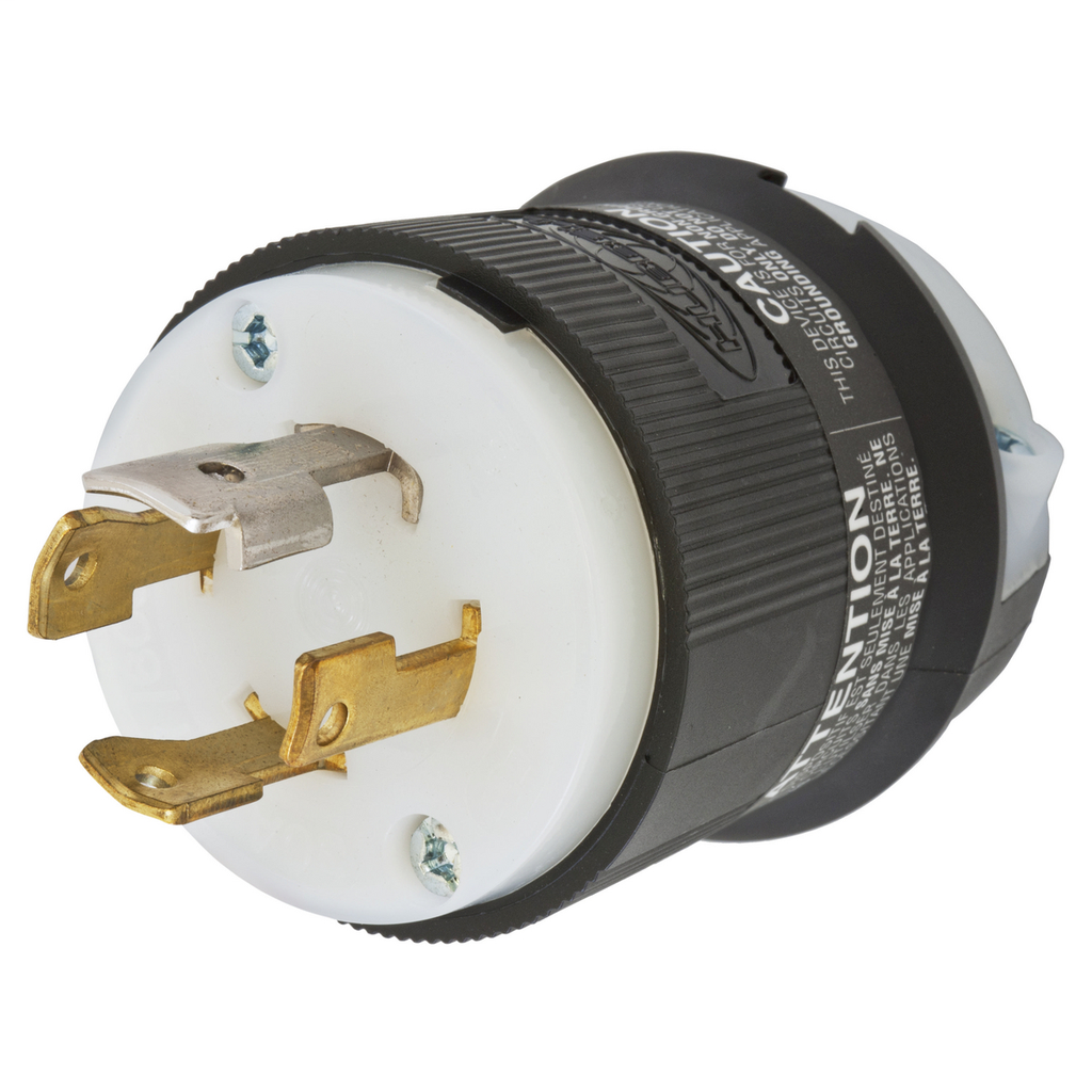 Hubbell Wiring Devices HBL2771 30 Amp 347/600 VAC 4-Pole 4-Wire NEMA L20-30P Black and White Locking Plug