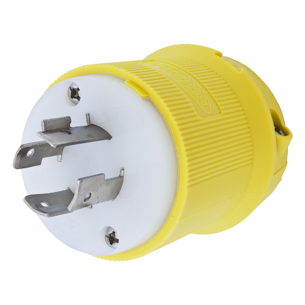 Hubbell Wiring Devices HBL24CM21 20 Amp 250 Volt 3-Pole 4-Wire NEMA L15-20P Yellow Locking Plug