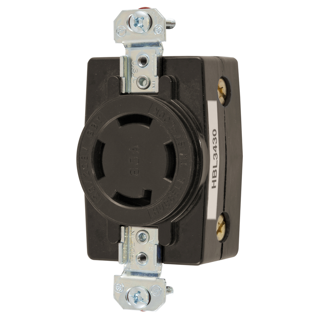 Hubbell Wiring Devices HBL3430 30 Amp 120/208 VAC 4-Pole 4-Wire Non-NEMA Black Single Flush Receptacle
