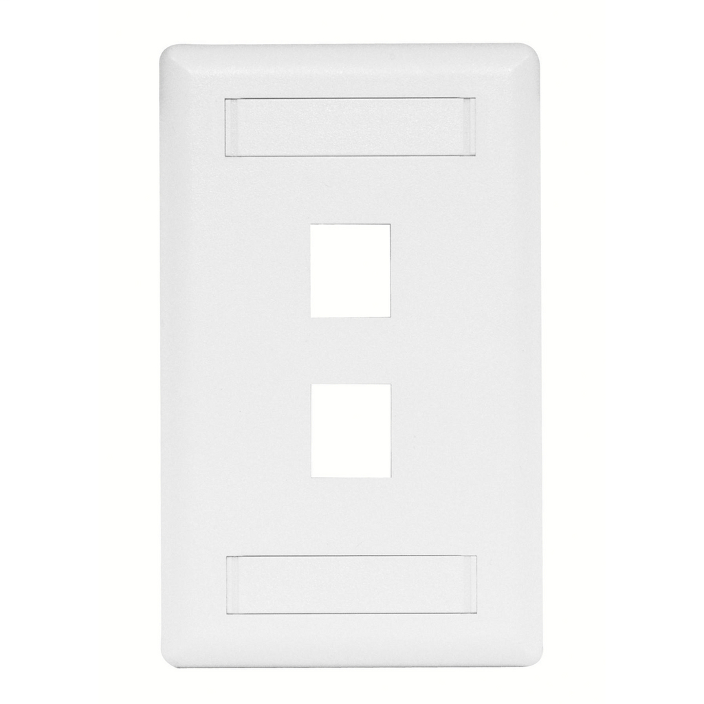 Mayer-Phone/Data/Multimedia Faceplate, Face Plate, Rear-Loading, 2-Port, Single-Gang, White-1