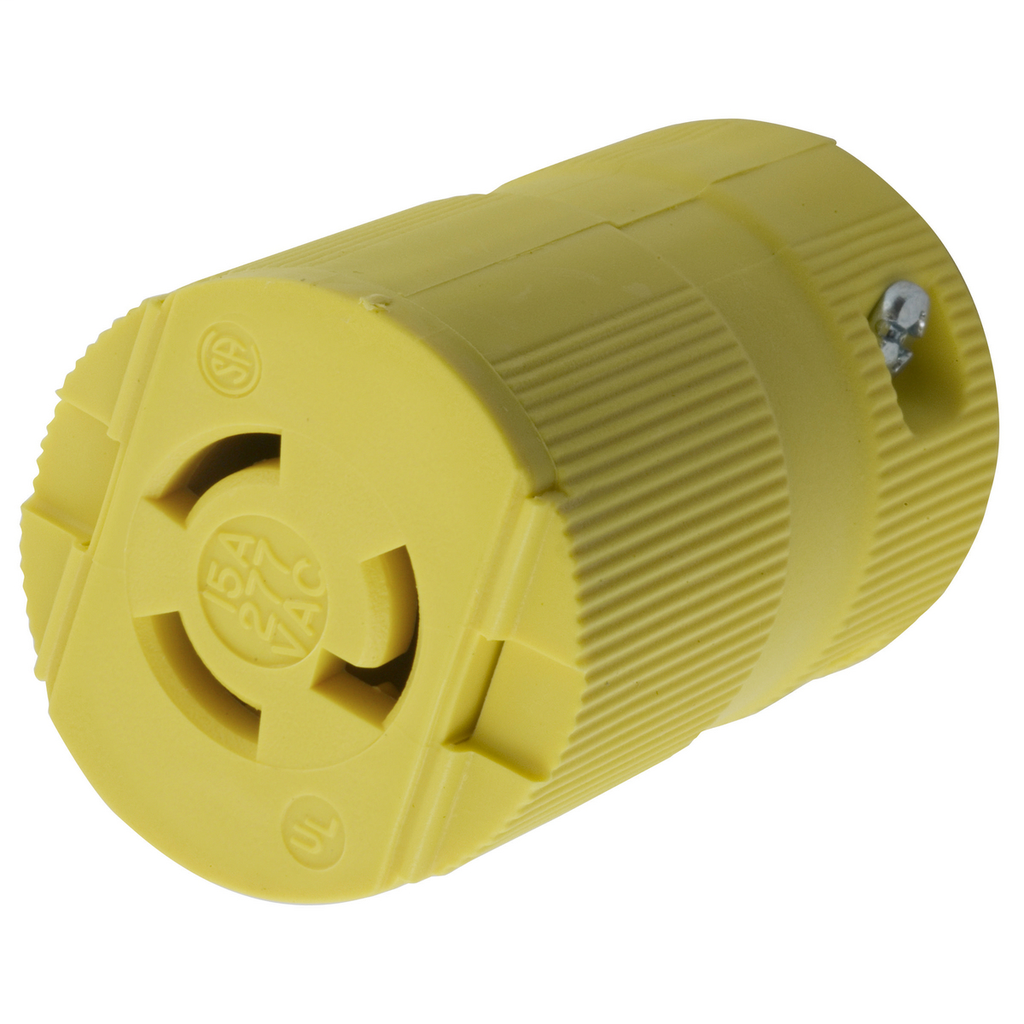 Hubbell Wiring Devices HBL4779VY 15 Amp 277 VAC NEMA L7-15R Yellow Nylon Locking Connector