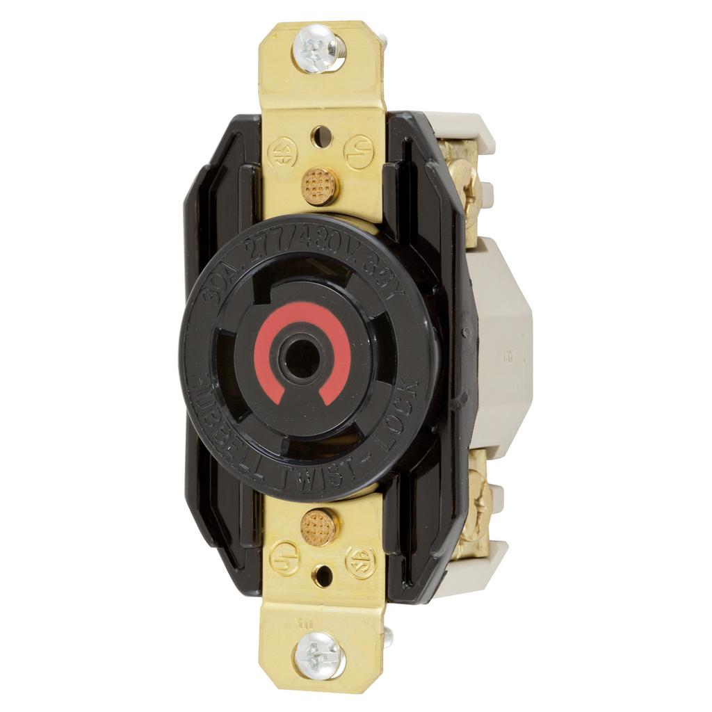 Hubbell Wiring Devices HBL2820 30 Amp 277/480 VAC 4-Pole 5-Wire NEMA L22-30R Black Single Flush Locking Receptacle