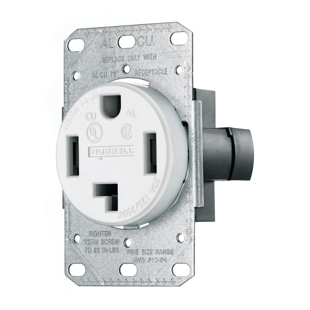 Hubbell Wiring Devices RR430FW 30 Amp 125/250 Volt 3-Pole 4-Wire NEMA 14-30R White Range and Dryer Power Receptacle