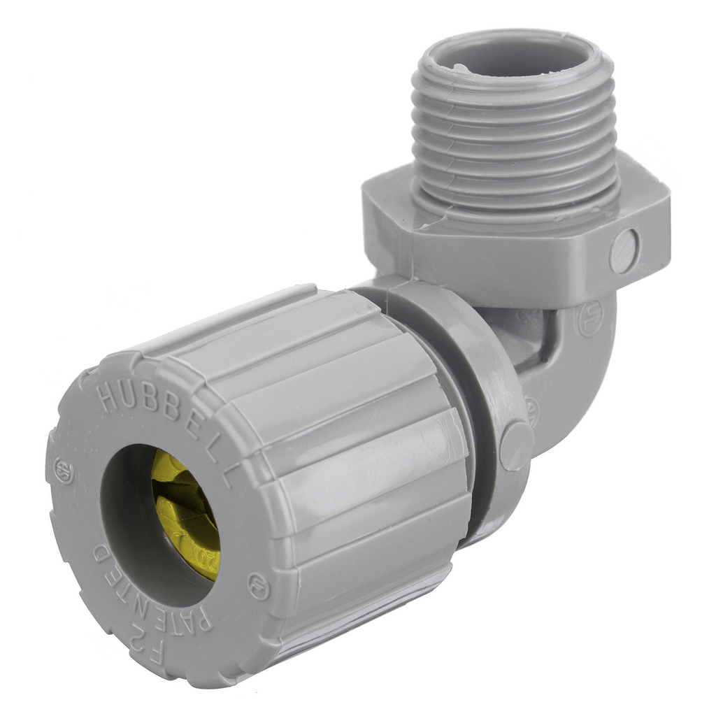 Hubbell Wiring Devices NHC1037CR 3/4 Inch Male Threaded 0.63 to 0.75 Inch Gray Nylon 90 Degrees Cord Connector