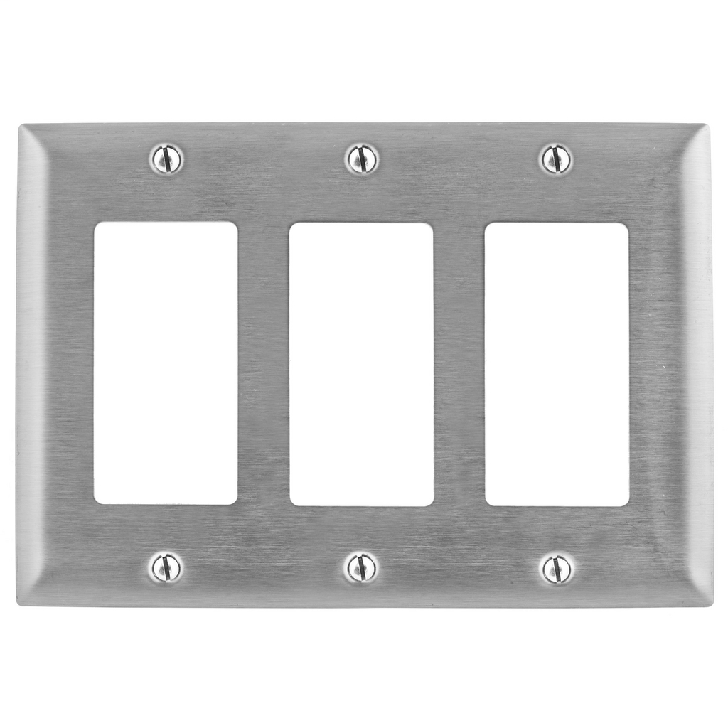 Hubbell Wiring Devices SS263 3-Gang Stainless Steel 3-Decorator Switch Screw Mount Wallplate