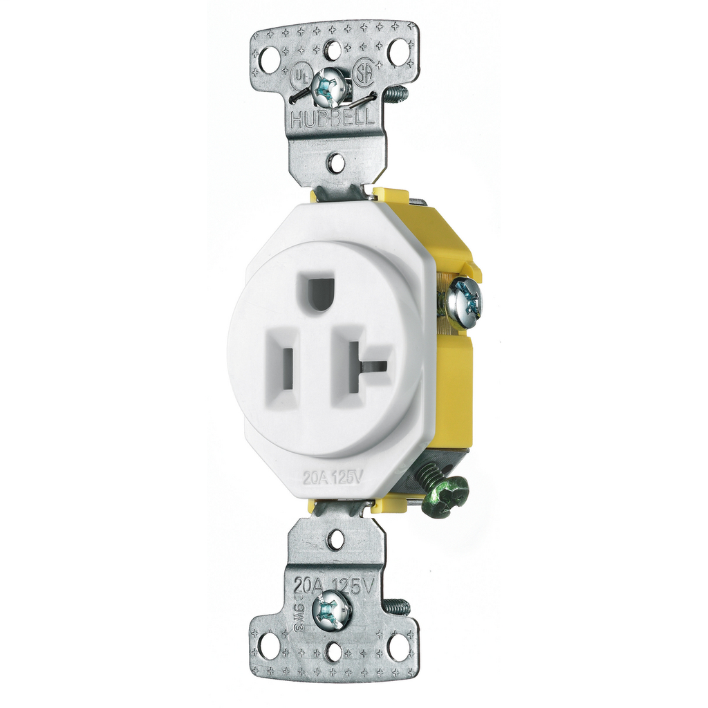 Hubbell Wiring Devices RR201W 20 Amp 125 Volt 2-Pole 3-Wire NEMA 5-20R White Single Receptacle