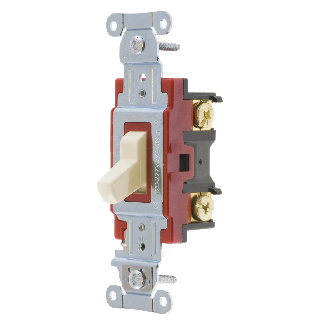 Hubbell Wiring Devices 1223LA 20 Amp 120/277 VAC 3-Way Light Almond Toggle Switch