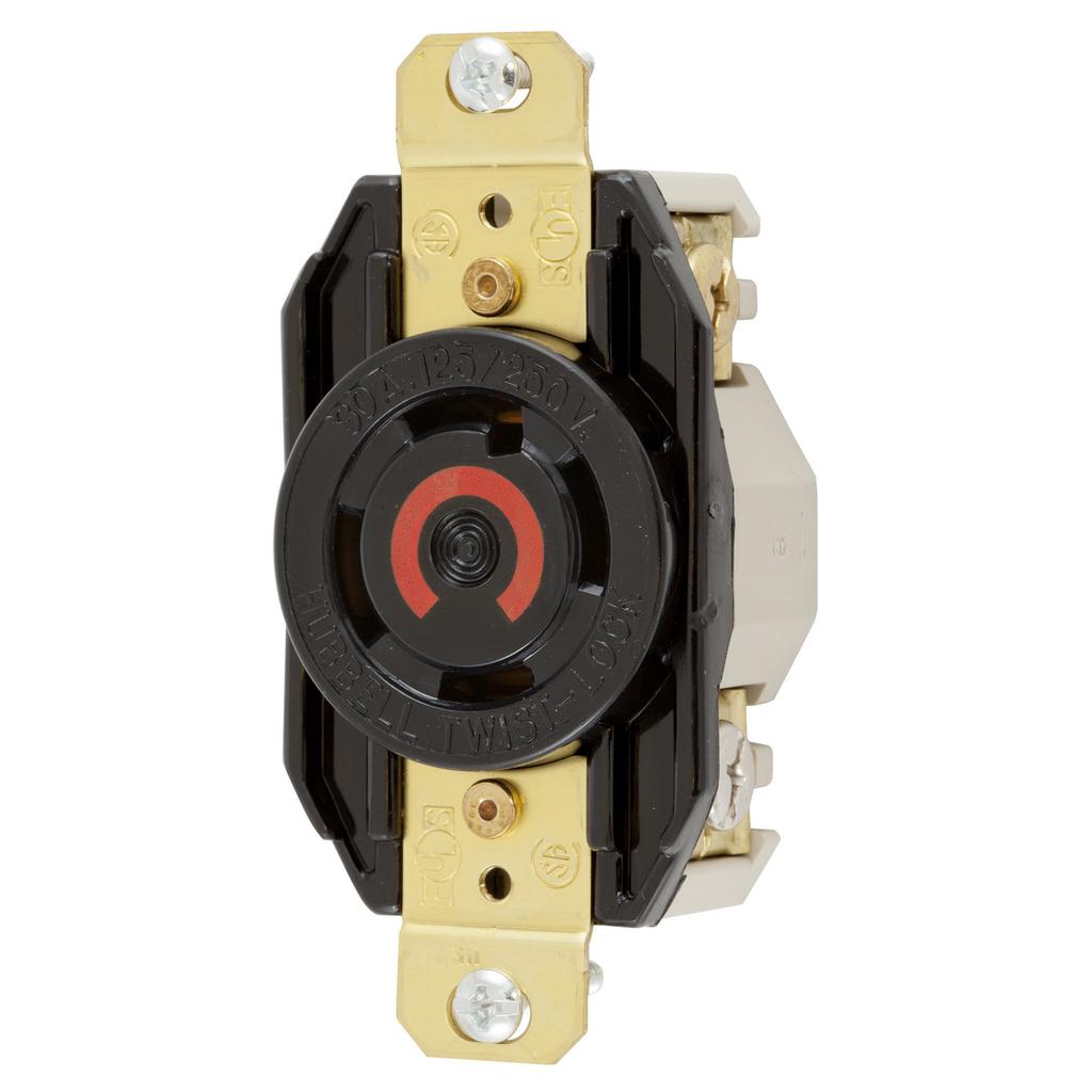 Hubbell Wiring Devices HBL2710 30 Amp 125/250 Volt 3-Pole 4-Wire NEMA L14-30R Black Single Flush Locking Receptacle