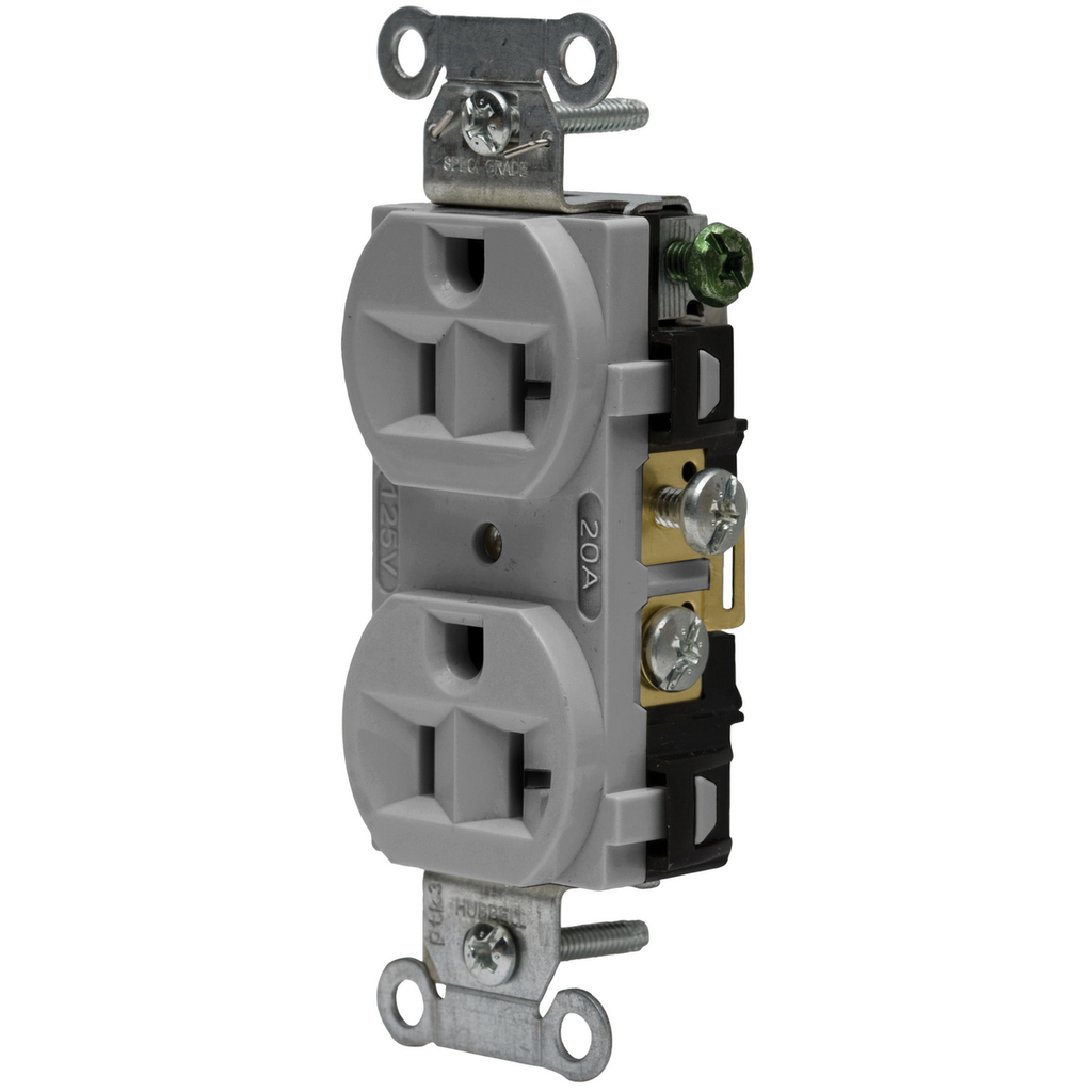 Hubbell Wiring Devices CRF20GRY 20 Amp 125 Volt 2-Pole 3-Wire NEMA 5-20R Gray Straight Blade Duplex Receptacle